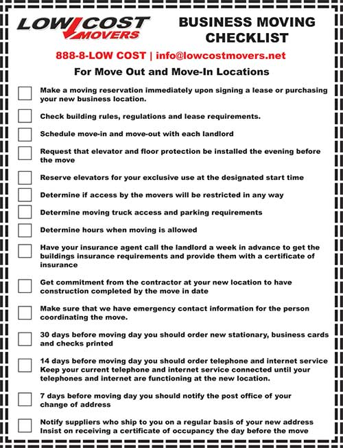 moving office checklist
